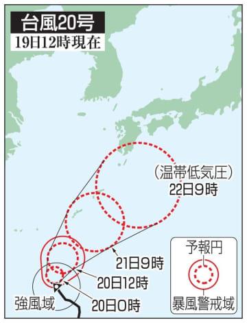 台風20号の予想進路(19日12時現在)
