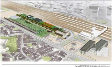 JR米原駅東口に建設予定の「ポルティ(仮称)」=滋賀県米原市提供
