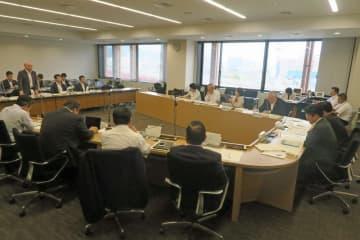 政府が公表したIR整備の基本方針案を説明した県議会特別委員会=県庁