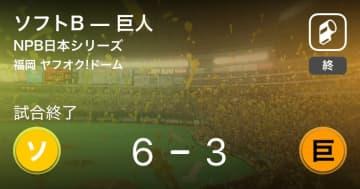 【NPB日本シリーズ第2戦】ソフトBが巨人を破る
