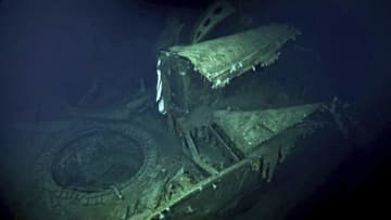 北太平洋ミッドウェー沖の海底で見つかった旧日本海軍「加賀」とみられる船体の一部(VULCAN INC提供・共同)