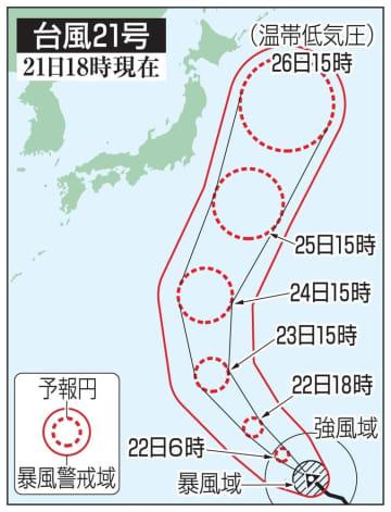 台風21号の5日先予想進路(21日18時現在)