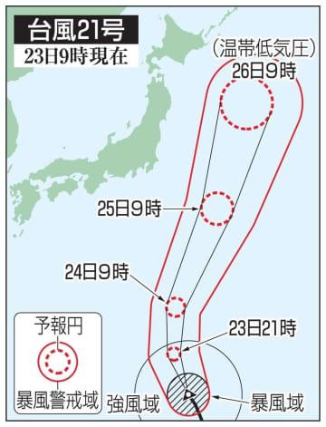 台風21号の5日先予想進路(23日9時現在)