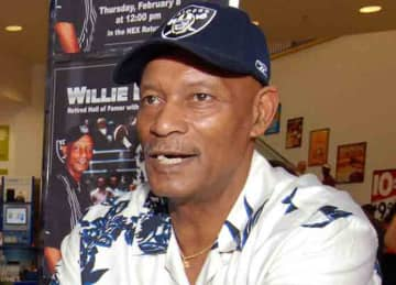 Pro Football Hall of Fame cornerback Willie Brown of the Oakland Raiders (w:United States Navy photo by Mass Communication Specialist 1st Class James E. Foeh/Wikipedia)