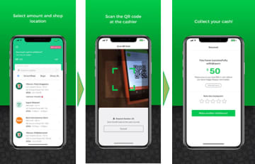 Supplied image shows the process to withdraw cash from cash registers in retail shops via a smartphone application offered by Singaporean fintech startup Socash Pte. Ltd. (Image courtesy of JCB Co.)