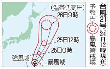 台風21号の予想進路(24日12時現在)