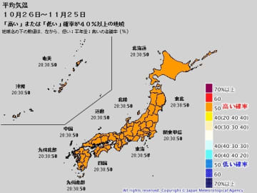 1か月予報(10月26日~11月25日の平均気温) 出典:気象庁HP