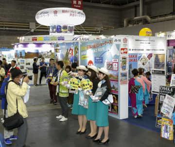 一般開放された観光業界の国際見本市「ツーリズムEXPOジャパン」=26日午前、大阪市