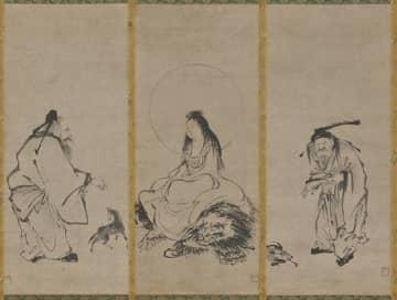 若き日に「拙宗」と名乗っていた雪舟が描いた左から張果老図、騎獅文殊図、黄初平図(いずれも個人蔵)