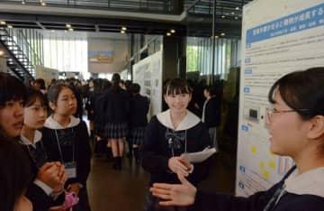 発表交流会で研究成果を披露する理系の女子中高生たち
