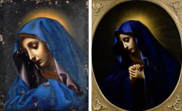同時に展示される(左から)「聖母像(親指のマリア)」(東京国立博物館蔵 Image:TNM Image Archives)と、「悲しみの聖母」(国立西洋美術館蔵)