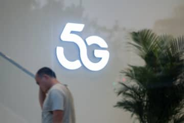 5G sign inside a shopping mall on Sept. 28, 2019, in Beijing. (Image credit: TechNode/Coco Gao)