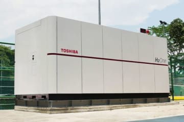 東芝エネルギーシステムズが海外で初めて納入した自立型水素エネルギー供給システムH2One(同社提供)