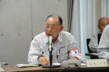 台風19号による市内の被害状況について説明した岡部市長