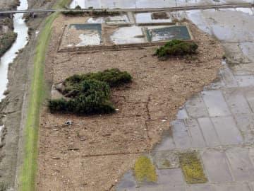 台風19号の影響で浸水し、流木などに覆われた田んぼ=20日、宮城県丸森町