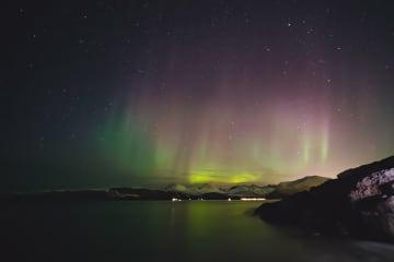 北極圏の町にオーロラ出現 ノルウェー