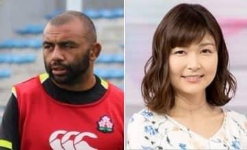 リーチ マイケル選手ご当人(左、2019年9月2日撮影)と気象キャスターの山神明理さん(NHK「おはよう日本」サイトより)