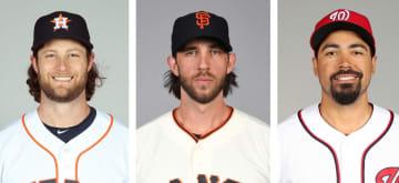 アストロズのコール投手、ジャイアンツのバムガーナー投手、ナショナルズのレンドン内野手(いずれもゲッティ=共同)