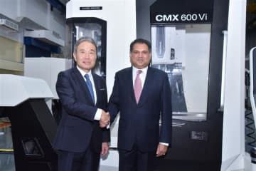 Masahiko Mori (L), president of DMG Mori Co., and Sanjay Jayavarthanavelu, chairman of Lakshmi Machine Works Ltd. at the production launch ceremony for DMG Mori's CMX 600 Vi machining center in Coimbatore on Oct. 29, 2019. (Photo courtesy of DMG Mori