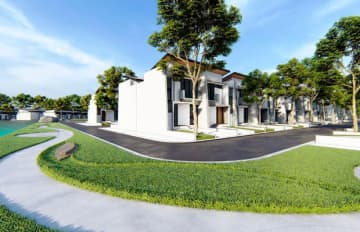 An artist's image of the Springhill Yume Lagoon townhouse project in Indonesia's Banten Province by Hankyu Hanshin Properties Corp. and Springhill Group's PT. Nuansa Hijau Lestari. (Courtesy of Hankyu Hanshin Properties)