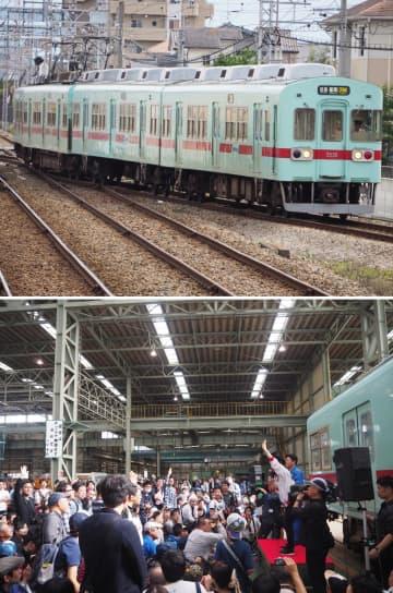 西日本鉄道の5000形(上)と、筑紫車両基地での電車解体ショーの様子=10月20日午後、福岡県筑紫野市