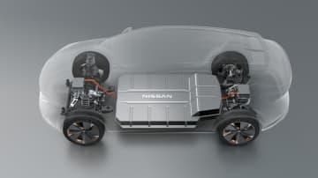 前後にモーターを配置した電動4WDを採用する「アリア・コンセプト」