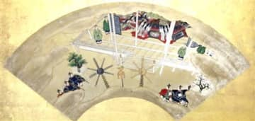 東山天皇の即位の礼と酷似した儀式の様子が描かれている「源氏物語扇面貼付屏風」の扇絵
