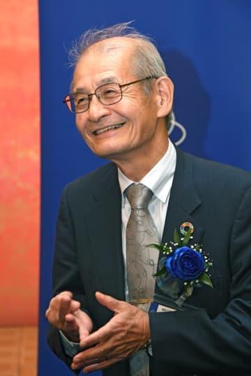 ノーベル化学賞を受賞した旭化成名誉フェローの吉野彰さん(10月17日、京都市左京区・京都大芝蘭会館)