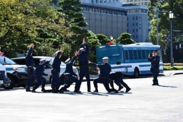 「即位礼正殿の儀」翌日に、皇居外苑で記念撮影する警察官たち(「急行205系統」さん提供)