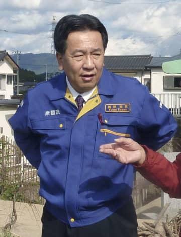 福島県いわき市を視察する立憲民主党の枝野代表=4日