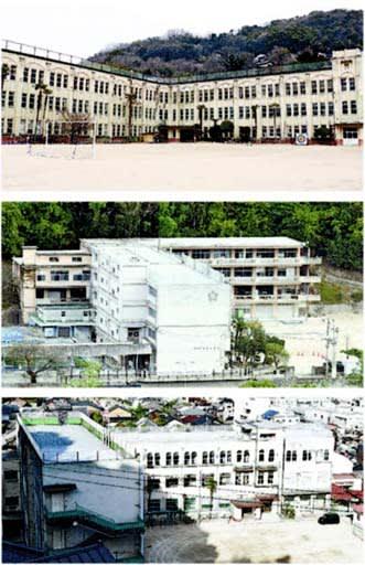 尾道市教委が2021年3月での廃校を決めた上から久保小、長江小、土堂小