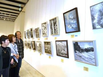 風景などを描いた力作が並ぶ作品展=岐阜市司町、みんなの森ぎふメディアコスモス
