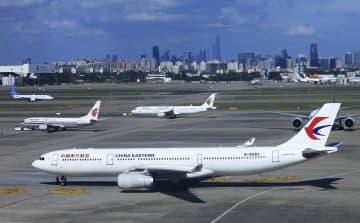 上海虹橋国際空港に駐機する中国航空各社の機体=8月(共同)