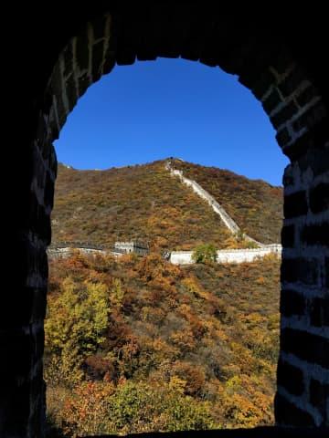 秋の長城、紅葉の名所に 北京市