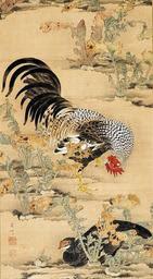 伊藤若冲の最初期の作とみられる「蕪に双鶏図」(福田美術館所蔵)