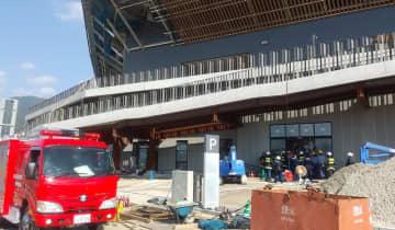 ぼや騒ぎがあった京都スタジアムの建設工事現場(10月31日午後1時ごろ、京都府亀岡市)