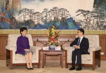 Carrie Lam and Han Zheng. Photo: GovHK.