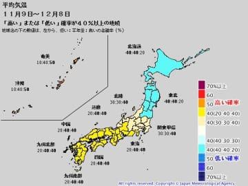 1か月予報(平均気温 11月9日~12月8日)。出典:気象庁ホームページ