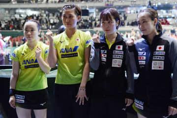 女子日本代表 左から伊藤美誠、佐藤瞳、平野美宇、石川佳純 Photo:Itaru Chiba