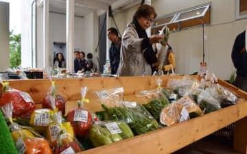 鋸南産の新鮮野菜が並ぶ仮設の直売所=9日、鋸南町の道の駅保田小学校