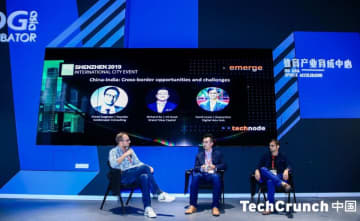 The China-India panel at the Emerge event during TechCrunch Shenzhen on Nov. 11, 2019. (Image credit: TechCrunch)