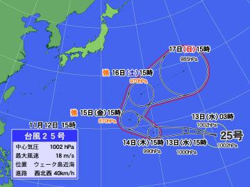 台風25号の予想進路図