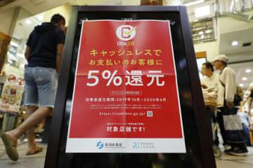 10月1日、ポイント還元ができるキャッシュレス決済サービスの対象店舗に掲げられたポスター=大阪市