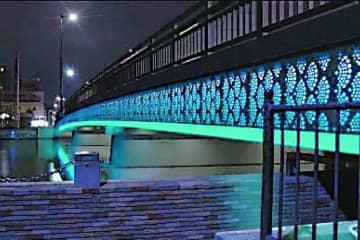 LEDアート作品を設置した富田橋の完成予想図