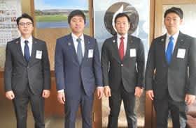 新役員の(右から)金野副理事長、道見副理事長、岩崎理事長、笠井専務理事