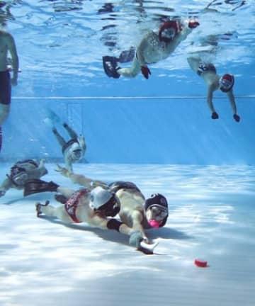 底に沈むパックを奪い合った水中ホッケーの日本選手権=長岡市長倉町