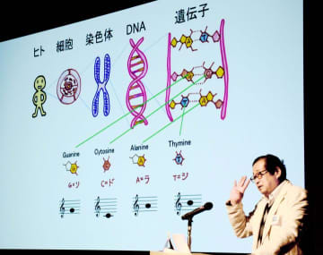 遺伝子ジャズについて説明する石川理事長