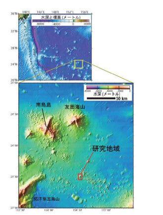 発見された火山の位置。(c)Elsevier Ltd.
