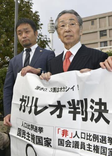「1票の格差」訴訟の判決を受け、「ガリレオ判決」と書かれた紙を掲げる原告側の升永英俊弁護士(右)=13日午後、広島高裁前