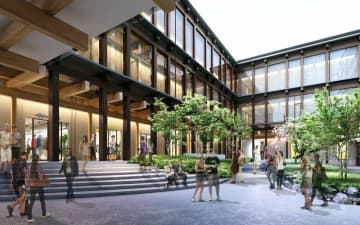 商業ゾーンに囲まれた中庭のイメージ(隈研吾建築都市設計事務所提供)
